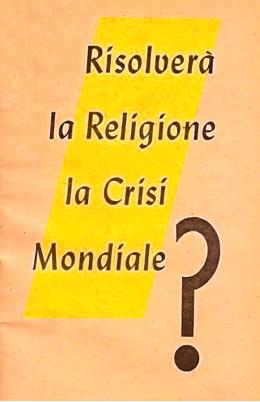 Risolvera la religione la crisi mondiale? 1952